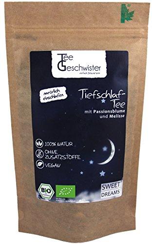 Tee-Geschwister BIO Schlaf-Tee | natürliche Kräutermischung zum Einschlafen | Abend-Tee mit Passionsblume Baldrian und Melisse | 85g