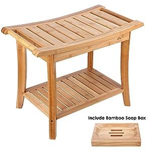 HOMECHO Tabuerte de Ducha de Bambú con Estante para Almacenamiento y Caja de Jabón Taburete de Baño Ergonómico y…