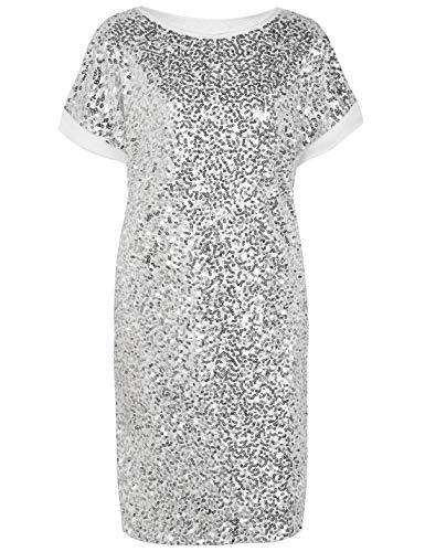 PrettyGuide Damen Pailletten Kleid Lose Glitter Dolman Hülse Partykleider Club Kleid XL Silber -