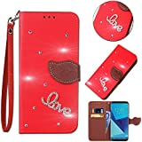 Leecase Bling Diamond Sparkle Glitter 3D PU Leather Bookstyle Magnetic Closure Wallet Flip Cover Creative Love Rhinestone Leaf Pattern For Huawei P8 Lite 2017-Red