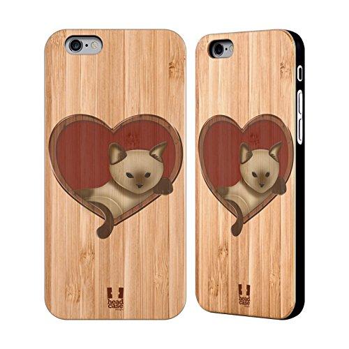 Head Case Designs Feuilles Art En Bois Étui Coque En Bois De Bambou Pour Apple iPhone 5 / 5s / SE Chat Dans Un Coeur