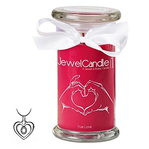 Jewelcandle true love - candela in vetro con un gioiello - candela profumata rossa con una sorpresa in regalo per te (pendente in argento sterling 925, tempo di combustione: 90-125 ore)