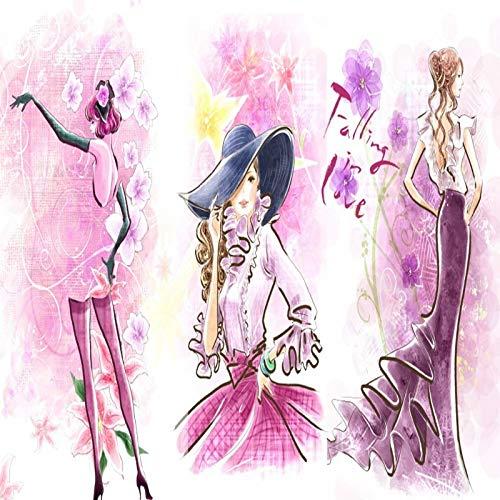 Rosa Thema Ahornblatt schönen langen Rock Blumen Modetrend Frauen Bekleidungsgeschäft Benutzerdefinierte Wandbild Tapeten 3d Fototapete(1 ㎡)