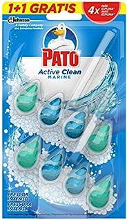 Pato - Active Clean colgador para inodoro, frescor intenso, perfuma y desinfecta, aroma Marine, (duo pack, 2 u