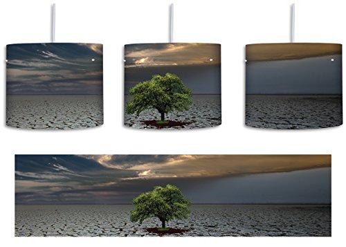 Bach Boden (Der letzte Baum im ausgetrockneten Boden inkl. Lampenfassung E27, Lampe mit Motivdruck, tolle Deckenlampe, Hängelampe, Pendelleuchte - Durchmesser 30cm - Dekoration mit Licht ideal für Wohnzimmer, Kinderzimmer, Schlafzimmer)