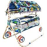 LookNSnap New Born Baby Cradle Cot Cum Stroller With Wheels - Blue - J3