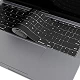 """OJOS - Keyboard Cover for MacBook Pro 13"""" & 15 inch (with Touch Bar) 2016/2017/2018 Version Model A1706/A1707/A1989/A1990 Silicone Protective Cover Skin (US Layout), Black"""