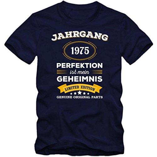 Jahrgang 1975 T-Shirt | Geburtstags-Shirt | Perfektion ist mein Geheimnis | 42. Geburtstag | Herren | Shirt © Shirt Happenz Dunkelblau (French Navy L190)