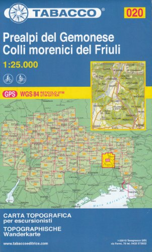 20 Prealpi del Gemonese 1:25.000 randonnée topographique, le cyclisme et ski de randonnée carte (Dolomites, Alpes)