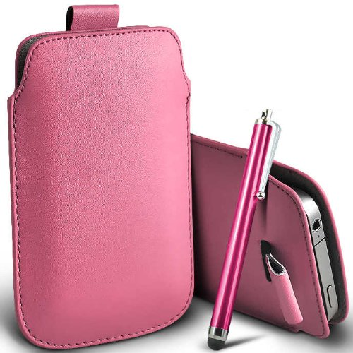 ONX3 T-Mobile G2x Hellrosa PU Leder Pull Tab Schutztasche Case + Hot Pink hohen kapazitiven Stylus Pen G2x Stylus