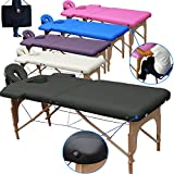 Beltom Table de Massage 2 Zones Portables Cosmetique lit esthetique Pliante Reiki + Sac - Noir