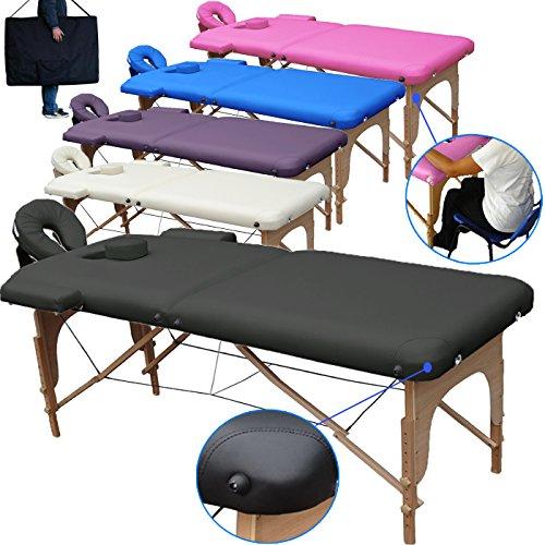Beltom Table de Massage 2 Zones Portables Cosmetique lit esthetique Pliante Reiki + Sac - Noir