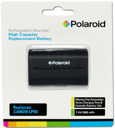 Polaroid High Capacity Battery Canon LPE6 rechargeable au lithium de remplacement (compatible avec: Canon EOS 5D Mark II, 7D, 60D)