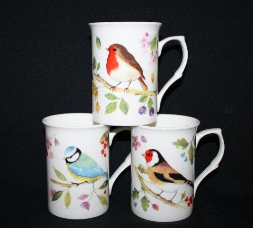 Set von 6Fine Bone China schönen Birds Wildlife Tassen, Tassen Geschenk-Set (Bone Blue Fine China)
