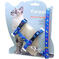 PetFun Adjustable Cat Body Paw n Bone Print Harness Leash Nylon Set for Cats, Kitten & Puppy 10mm Pack of 1 ( (Blue)