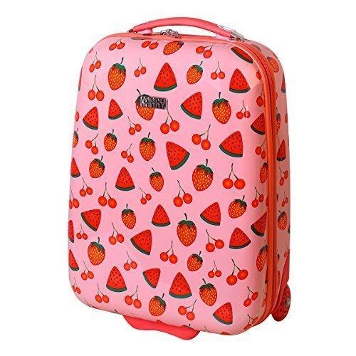 Karry Kinder Koffer Reisekoffer Trolley Hartschalen Handgepäck Mädchen LED Skater Rollen Fruit