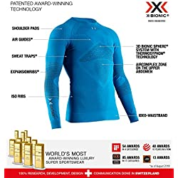 X-Bionic Energizer 4.0 Shirt Round Neck Long Sleeves Men Capa De Base Camiseta Funcional, Mujer, Azul (Teal Blue/Anthracite), M