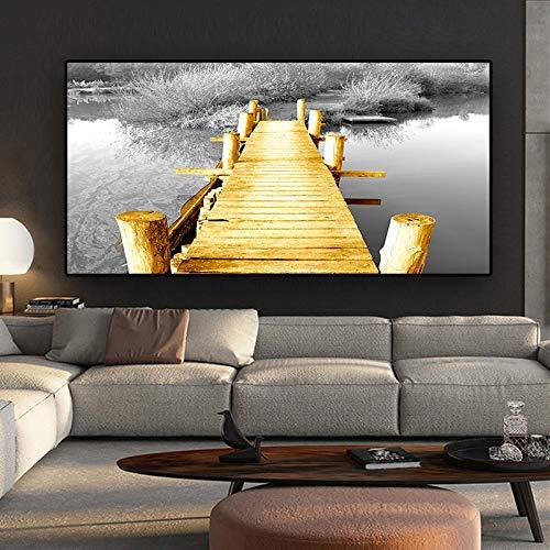SQSHBBC Tela scandinava in Oro Bianco e Nero con Paesaggio a Ponte divani Moderni per Soggiorno