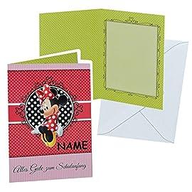 Glckwunschkarte-zum-Schulanfang-Minnie-Mouse-mit-Umschlag-incl-NAME-Karte-Karten-fr-Mdchen-Schuleinfhrung-Schulstart-Punkte-Maus-Mickey-rot-gepunktet
