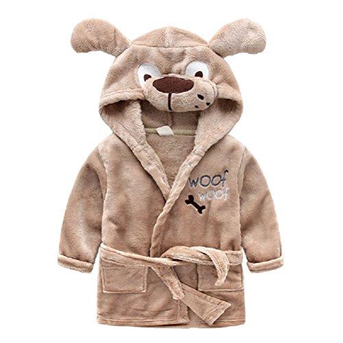 llen Fleece Cartoon Tier Kapuzen Bademantel Fluffy Schlaf Robe für Jungen und Mädchen (Fluffy Dog Costume)