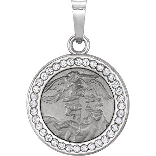 14ct weiß gold poliert St. Michael Medaille Anhänger mit Saphir weiß (St Gold Michael-halskette)
