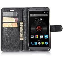 SMTR Elephone P8000 Cartera Fundas de PU Cuero Flip, Standing Leather Wallet Case Cover Carcasa Funda con Ranura de Tarjeta Cierre Magnético y función de soporte para Elephone P8000, Negro