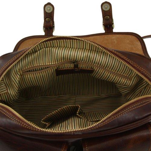 Tuscany Leather San Marino - Borsa da viaggio in pelle con tasche frontali Marrone Borse uomo in pelle Testa di Moro