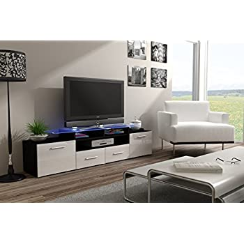 Modern High Gloss Evora Black Tv Stand Display Cabinet Wall Entertainment Unittv Cabinets Tv