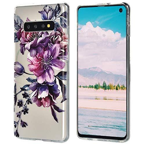 Für Galaxy S10 Hülle Flexibel, Transparente TPU Hülse Stoßfest Drop Resistance Auffallend Rückschale Bunte Malerei Blumen Kompatibel mit Samsung Galaxy S10, Stil-01 (S10-hülsen)