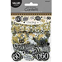 Amscan 1.2oz Gold Sparkling 60th Birthday Confetti