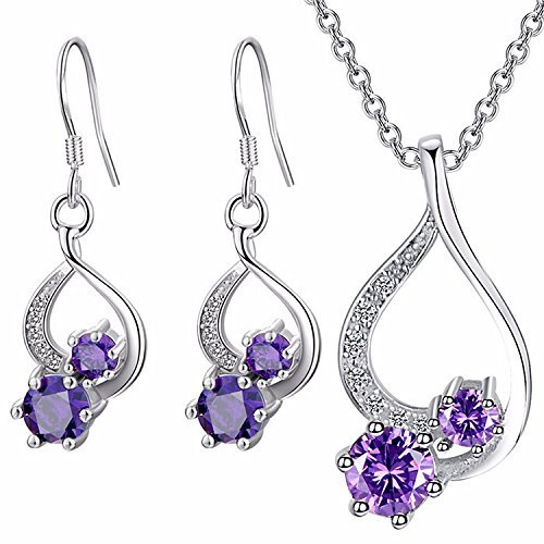 Majesto - 925 Sterling Silver Purple Drop Pendant Necklace Dangle Earrings Set For Women Teen Girls Prime Gift