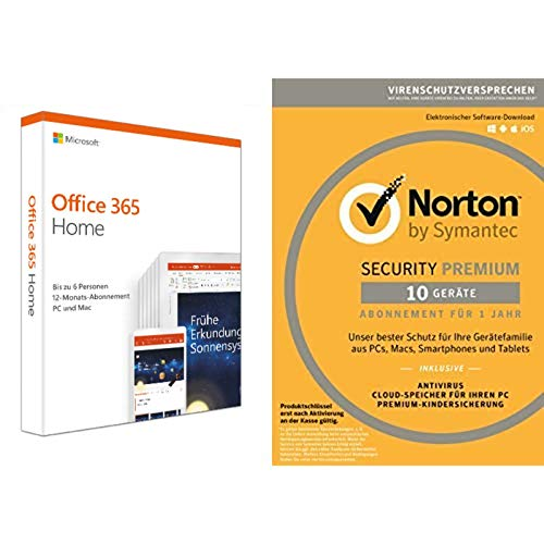 Microsoft Office 365 Home + Norton Security Premium 2019 10 Geräte