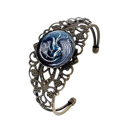 Lureme Women Glas Time Gem Game of Thrones Hollow Blume Open Armreif Armband-Targaryen (bl003427-2) Glas Blumen Base