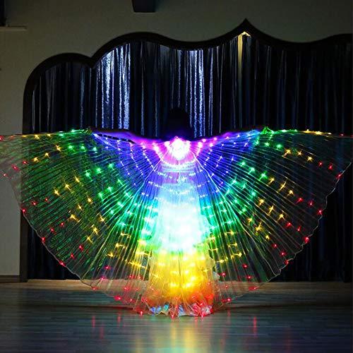 KT Mall Bauchtanz LED Angel Isis Wings mit flexiblen Sticks Erwachsene schillernden Bauchtanz Performance Party Cosplay Karneval Bühne Halloween (Bar Halloween-kostüme Verwandten)