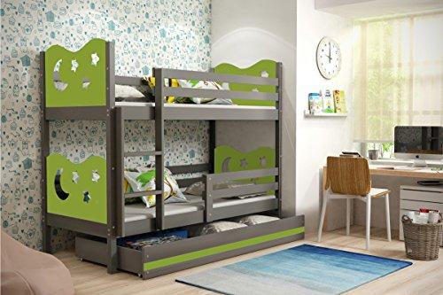 Letto a castello MIKO, lettino per bambini con ampio cassettone, cameretta per ragazzi, materassi in spugna GRATIS! (Verde, 200x90)