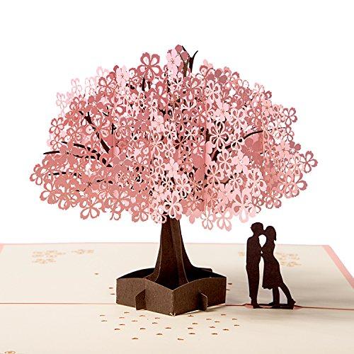 3D Karte, Pop up Hochzeitskarte für die meisten Anlässe, Romantik Faltkarte Grußkarte Valentinstag Karte mit Umschlag MEHRWEG 3d-karte