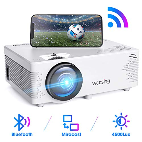 【2020 Neu】 WiFi Beamer, VicTsing Mini Beamer mit Bluetooth, 4500 Lumen 1080P Full HD, Wireless Projektor, kompatibel mit iPhone / Android-Smartphone / iPad / Mac / Laptop / PC