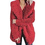 Coats for Women Long Sleeve Warm Artificial Wool Hooded Outwear Cardigans Hoodies Sweatshirt