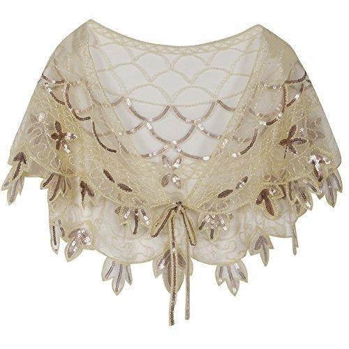 kayamiya Frauen Abend Schal Perlen Pailletten Deco Hochzeit Wraps Champagner