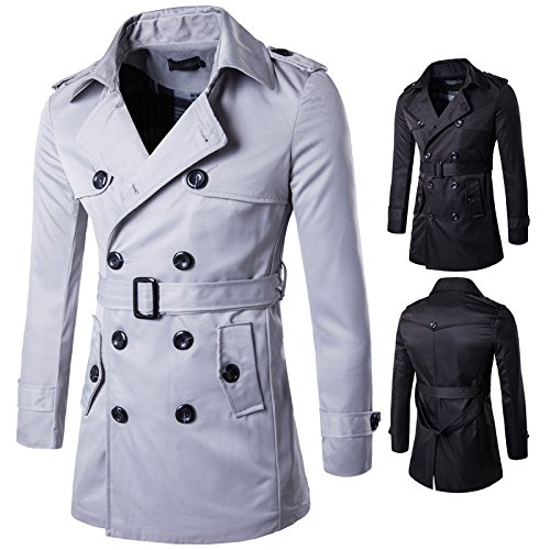 WPEW-Men's Coats Hommes Double Breasted Trench-Coat Long