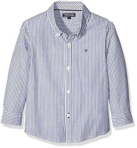 Tommy Hilfiger Park Stripe Shirt Fashion L/s-Camicia Bambino, Blau (Medieval Blue 422), 128 (Taglia produttore:8)