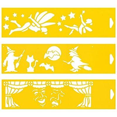 (Satz von 3) 30cm x 8cm Flexibel Kunststoff Universal Schablone - Textil Kuchen Wand Airbrush Möbel Dekor Dekorative Muster Torte Design Technisches Zeichnen Zeichenschablone Wandschablone Kuchenschablone - Fairy Zwerge Halloween-Hexen von Plantec - Tapet