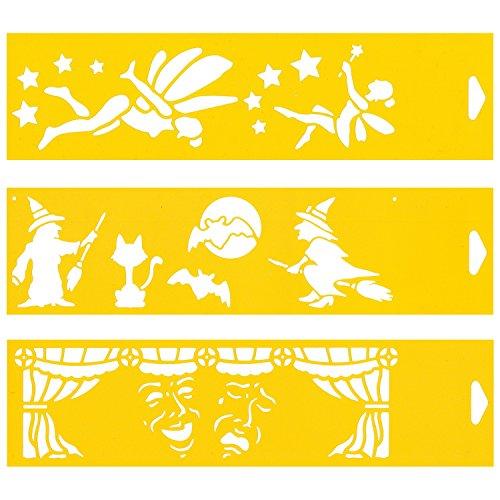 (Satz von 3) 30cm x 8cm Flexibel Kunststoff Universal Schablone - Textil Kuchen Wand Airbrush Möbel Dekor Dekorative Muster Torte Design Technisches Zeichnen Zeichenschablone Wandschablone Kuchenschablone - Fairy Zwerge Halloween-Hexen