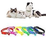 FidgetGear Hundehalsband, Nylon, mit Glöckchen, 6 Farben, 12 Stück