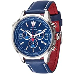 DETOMASO Aurino Men's Quartz Watch with Blue Dial Analogue Display and Blue Leather Bracelet Dt1061-J