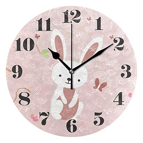 Mnsruu Wanduhr Stille Nicht Ticken, rundes Kaninchen auf rosa Hintergrund Art Clock für das Hauptschlafzimmer-Büro einfach zu lesen