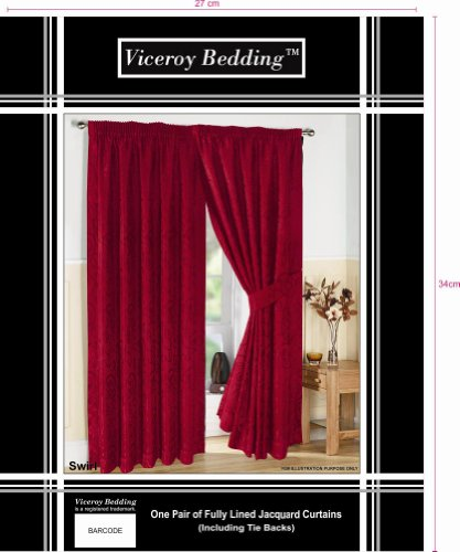 Pair of Fully Lined RED 66″ Width x Drop 108″ JACQUARD SWIRL DESIGN Pencil Pleat Curtains with Matching Tiebacks by VICEROY BEDDING