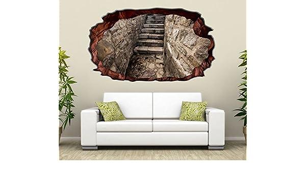 3D Wandtattoo Treppe Steg Stein Höhle Keller selbstklebend Wandbild ...