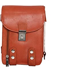 R Stlyist Genuine Leather Unisex Cross Sling Bag (Tan)