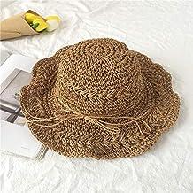 SEBAS Home Corea del Sur Playa de Viaje Grande 檐 Sombrero de Paja Hecho a  Mano versión Coreana de la Playa de Verano sombrilla Plegable sombrilla  Protector ... 2a1c46813e4f